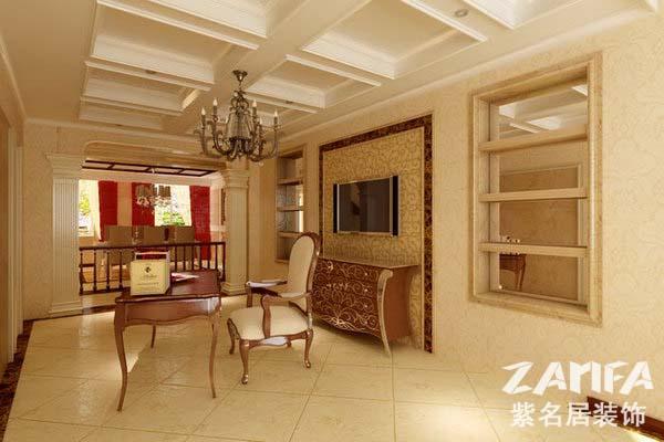 八、別墅客廳挑空過高,留意視覺感受的舒適度 躍層、別墅等戶型的客廳挑空過高,設計師應該解決視覺的舒適感受,具體做法是采用體積大、樣式隆重的燈具彌補高處空曠的感覺。分隔線:合適的位置圈出石膏線,或者用窗簾將客廳垂直分成兩層,令空間敞闊豪華而不空曠。