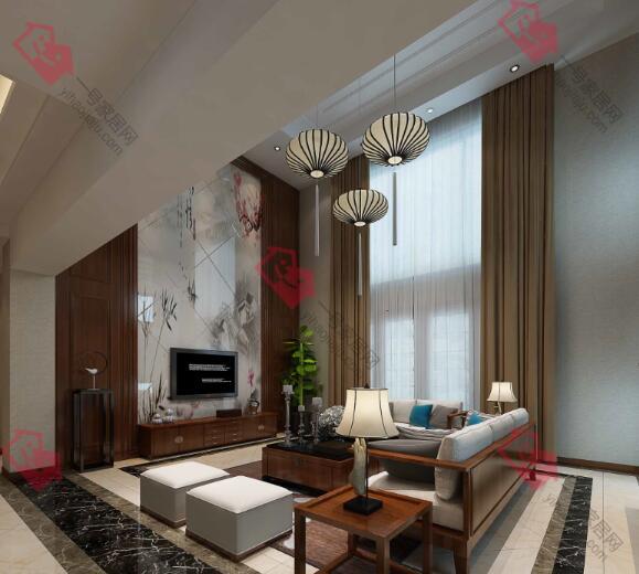 江宁武夷绿洲沁荷苑460平别墅新中式风格装修效果图