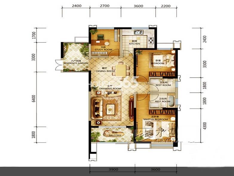 世园大公馆8号楼D3户型3室2厅2卫1厨 136.00㎡