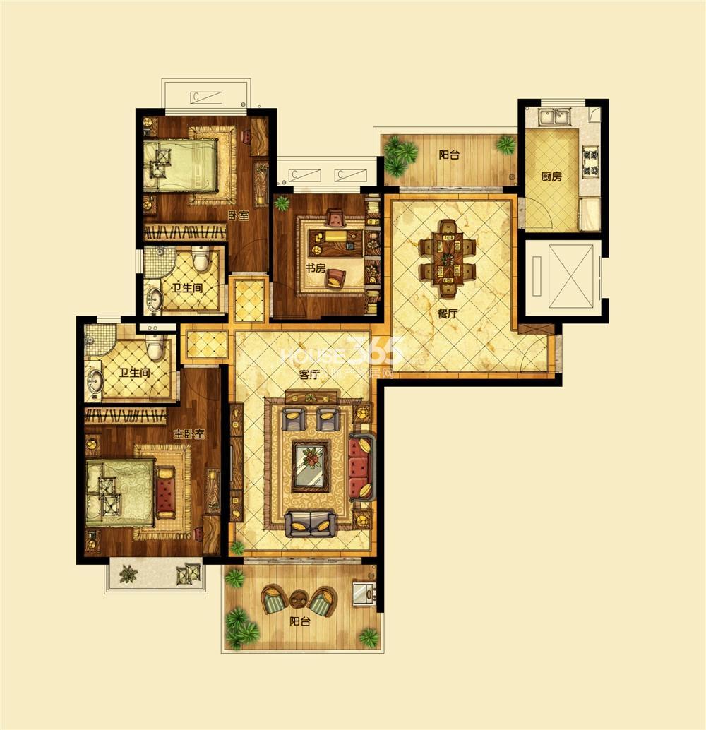 恒大翡翠华庭1期标准层C户型 三房两厅两卫