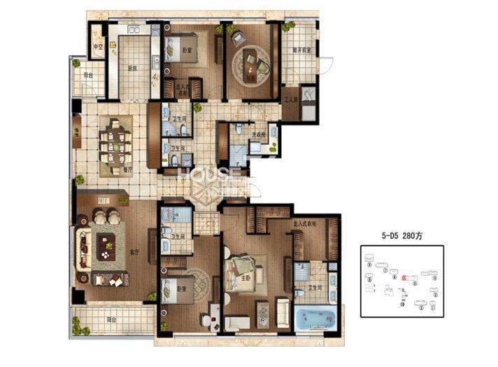 绿地华家池1号D5户型280平(1号楼)