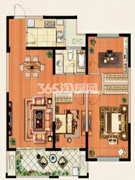 C户型  3室2厅1卫  面积:约105㎡