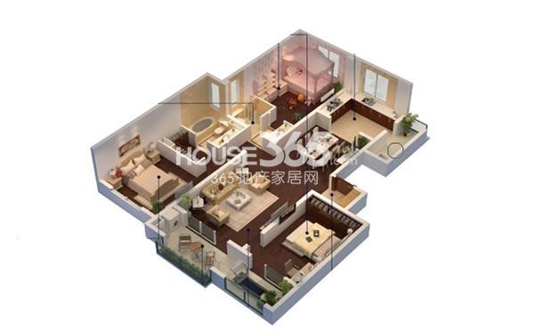 朗诗相门绿郡1#标准层B2户型3室2厅2卫1厨141㎡