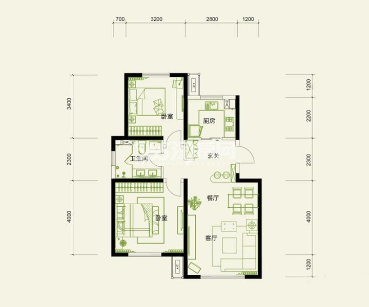 高层标准层 2室2厅2卫1厨 91平米
