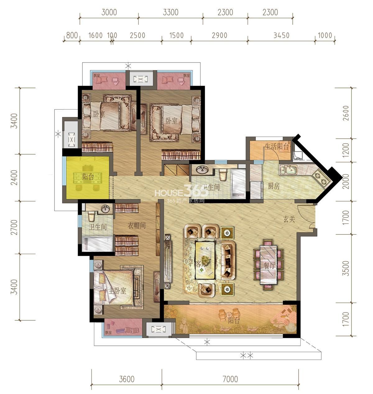 御龙天峰铂庭组团C-1户型 三房两厅两卫 117平米