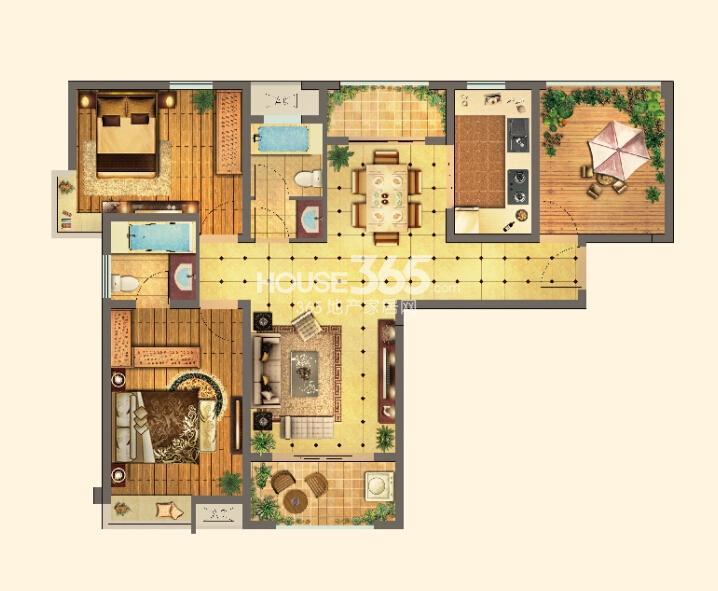 红星国际生活广场高层A1户型图三室两厅两卫约122㎡