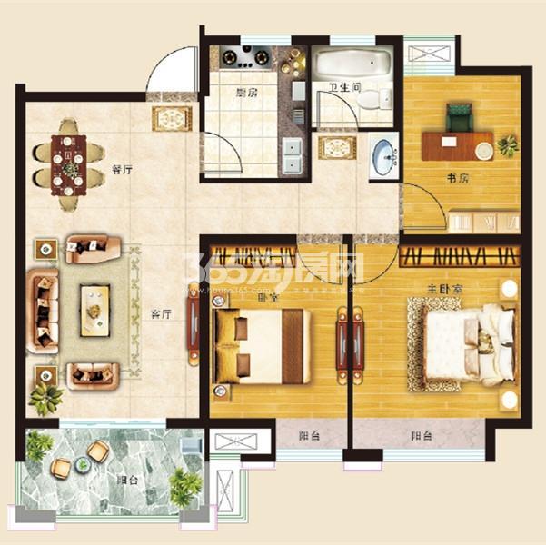 B2-C2户型三室两厅一厨一卫89㎡