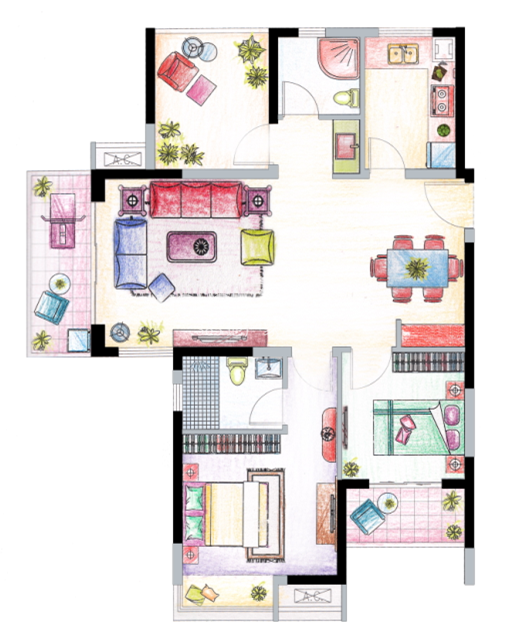 南山维拉C2户型图111㎡,2+1房两厅两卫