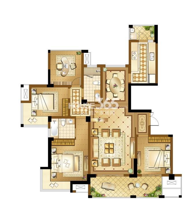 高新地产天之运C5户型图约147平四房两厅两卫