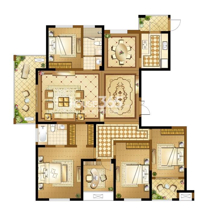 高新地产天之运D3户型图约188平五房两厅两卫
