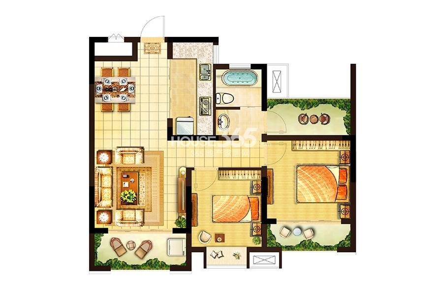 卓兴澜庭户型图高层4#标准层B户面积80.00平米