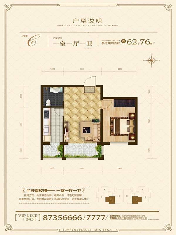 6#C户型一室一厅一厨一卫