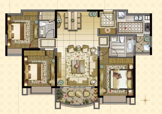 雅居乐中心广场8#楼140平户型图