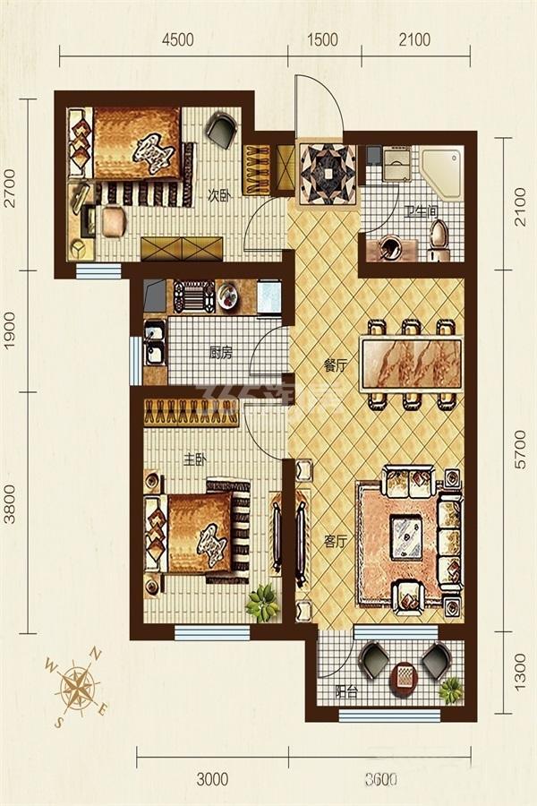 B户型, 2室2厅1卫, 约84.00平米