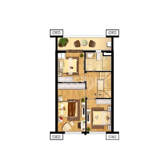 中航樾广场98㎡复式户型图(二楼)