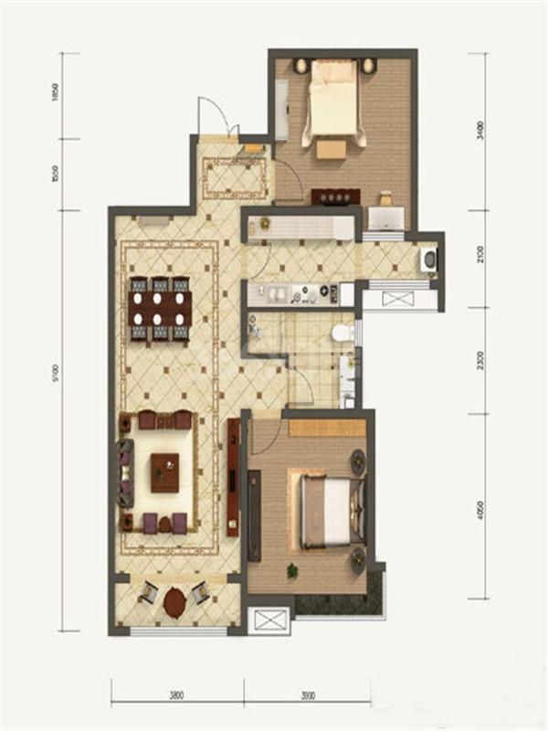 2室2厅1卫, 约107.33平米