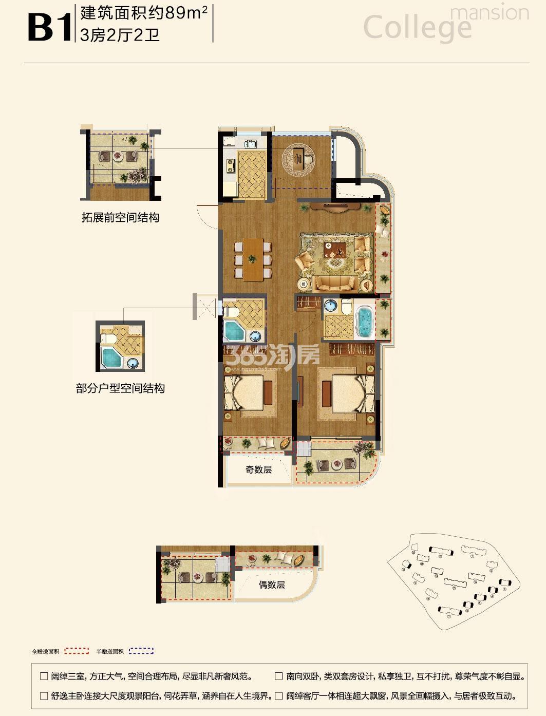 融信学院府项目3-7、10、13号楼边套 B1户型 89㎡