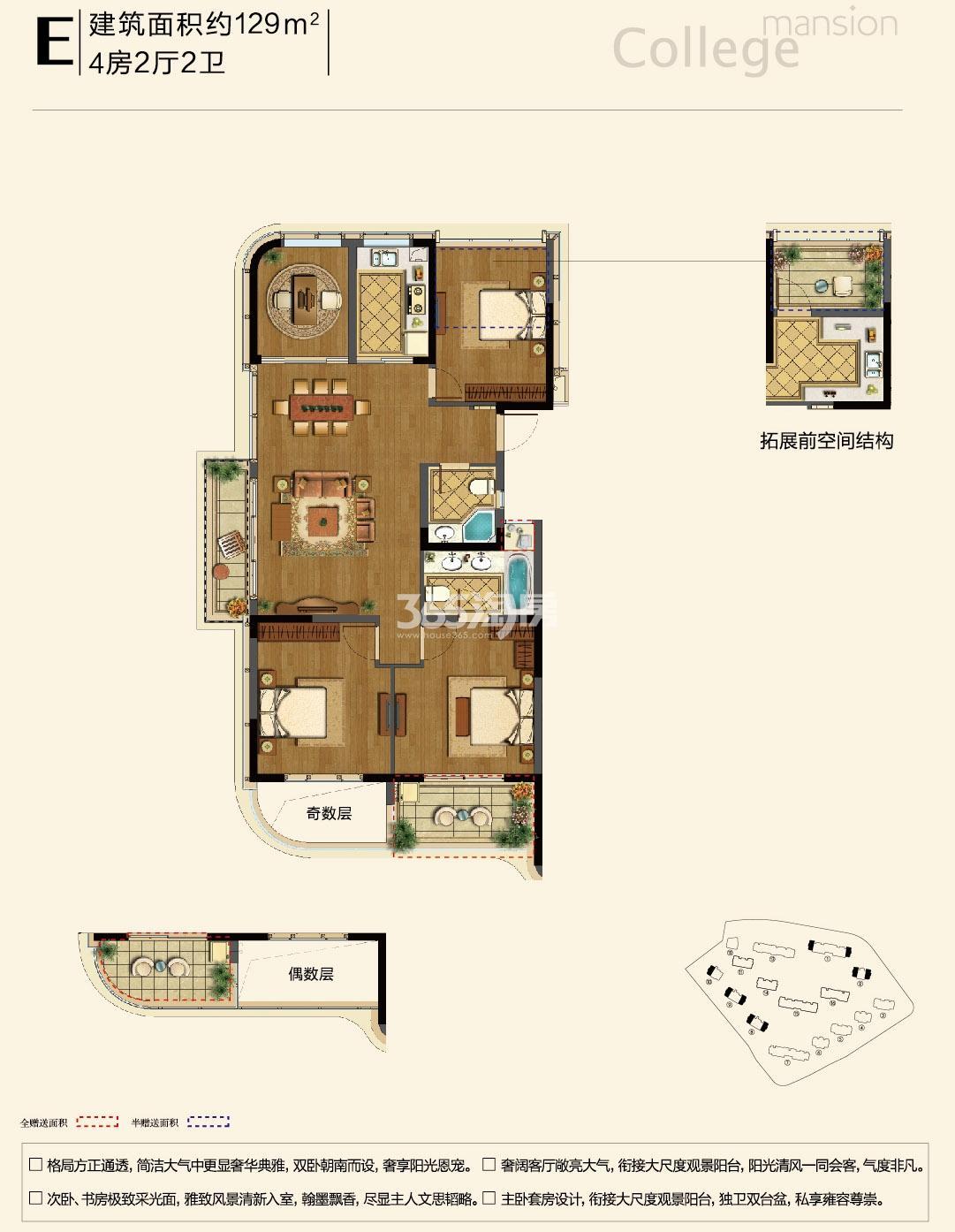 融信学院府项目1、2、8-10号楼边套 E户型 129㎡
