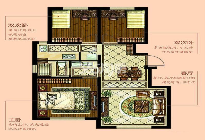 C户型 3室2厅1卫 100平米