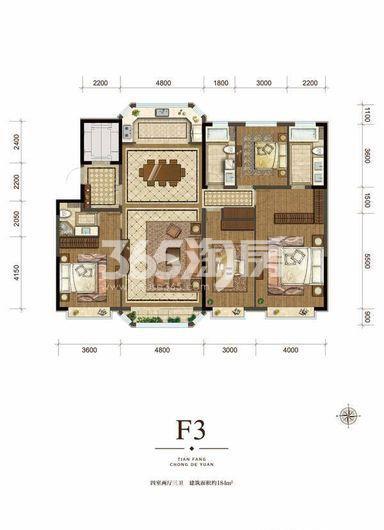 一期高层标准层F3户型 4室2厅3卫 184