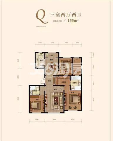 洋房Q户型 3室2厅2卫 155㎡ (待售)