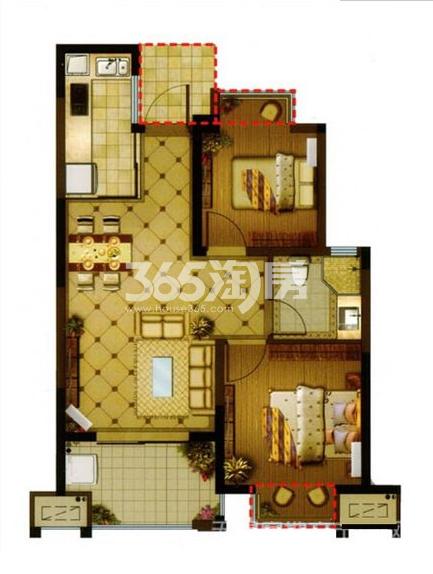长泰国际社区74平B地块高层户型图