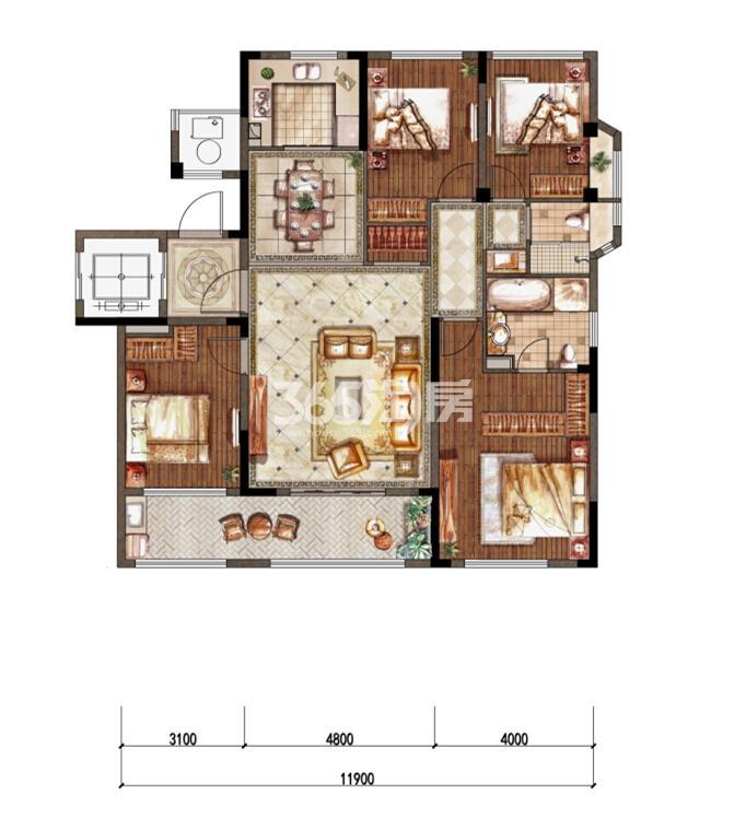 1-3洋房五层东边01室G-1户型 136㎡