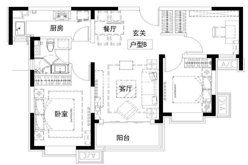 华远枫悦3室2厅1厨1卫90.00㎡