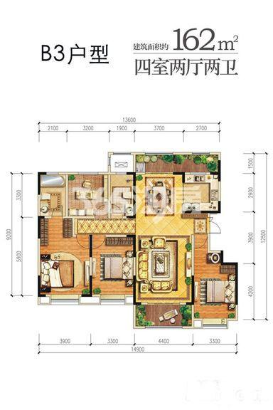 龙湖曲江畔B3户型四室两厅一厨两卫162㎡