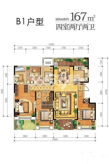 龙湖曲江畔B1户型四室两厅一厨两卫167㎡
