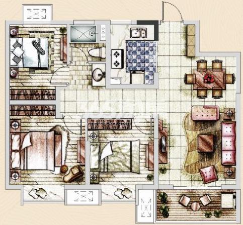 美的乐城高层3室2厅户型