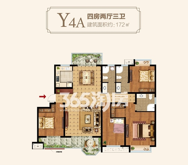 Y4A户型四房两厅三卫