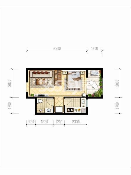 天朗玖悦都一室一厅一厨一卫39.24平米户型