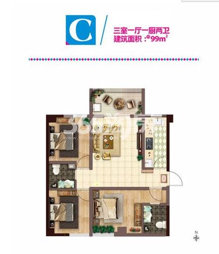 C户型三室一厅一厨两卫面积99㎡