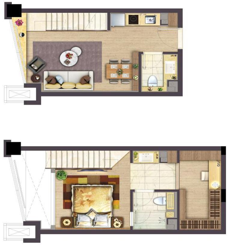 银城Kinma Q+社区4.8m挑高公寓户型图