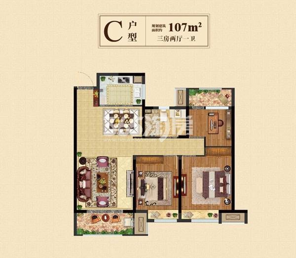 高层107㎡三房两厅一卫