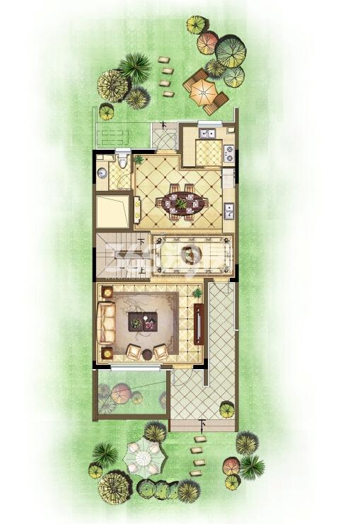 瑞安翠湖山西边02室258㎡B户型1层