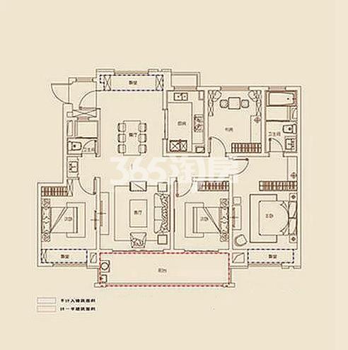 B2户型, 4室2厅2卫1厨