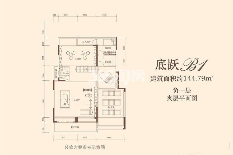 蓝光公园华府底跃B1负一层户型建筑面积144.79㎡