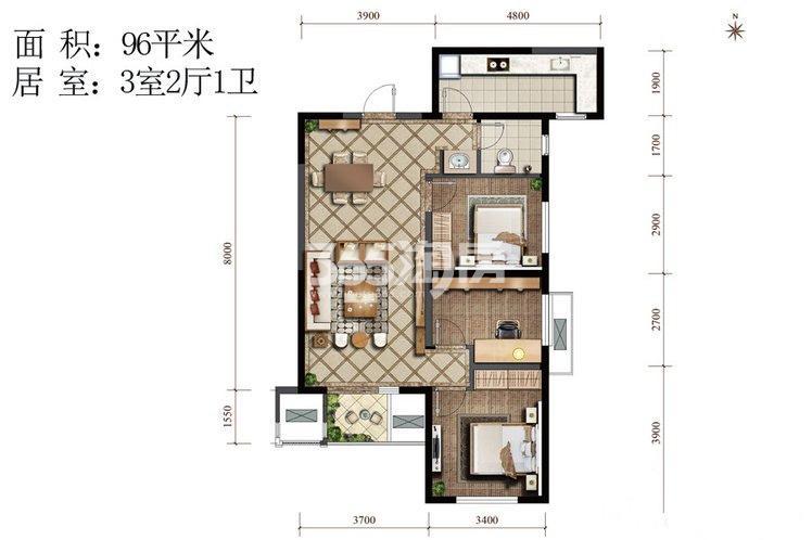 紫薇西棠禧棠C户型3室2厅1卫1厨96.00㎡
