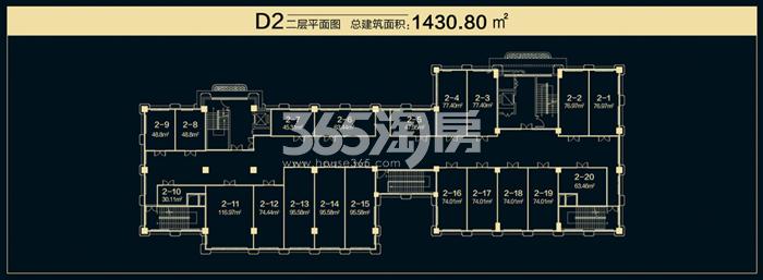 国润城商铺D2户型平面图1430.80㎡