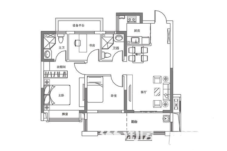 和昌香樟原著户型图89平米A平层高层