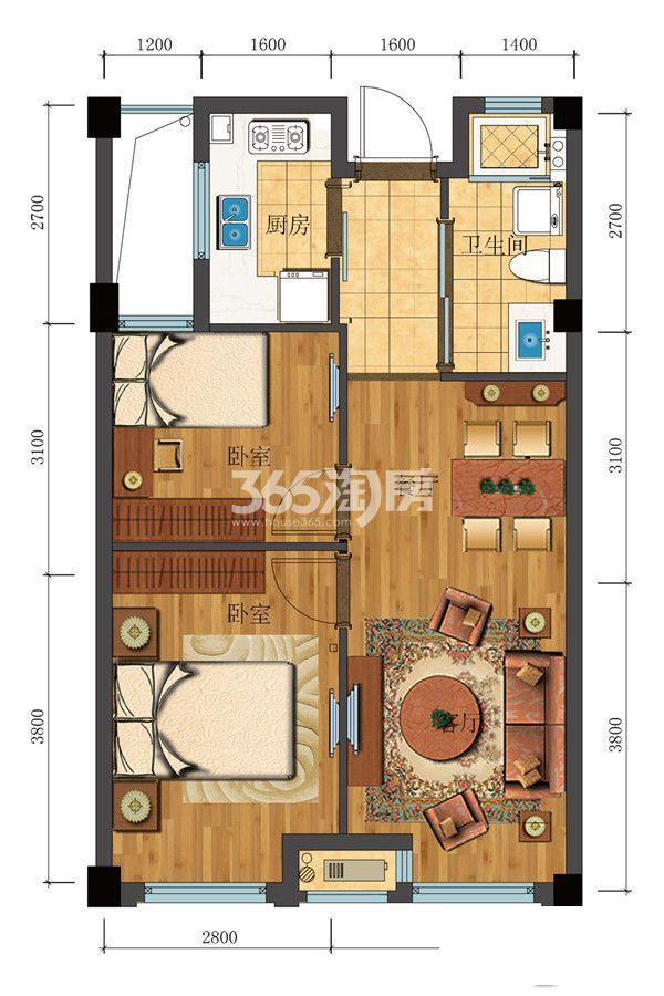 滨江新城东方名府公寓65方G-1户型(1#)