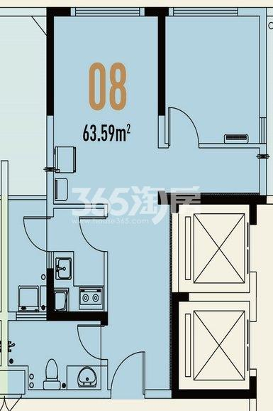 世茂翡翠首府1#楼公寓63.59㎡户型