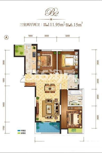 龙记玖玺B2-户型3室2厅2卫1厨111.95㎡