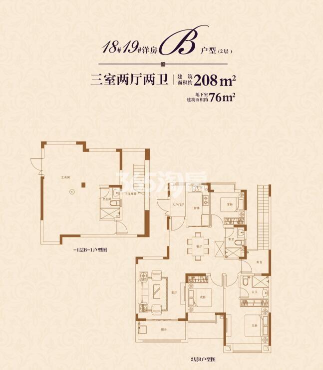 恒大观澜府洋房B户型208平户型图